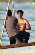 Halle Berry - Bikini Top/Wet Suit Bottoms Candids(tagged-MQ)